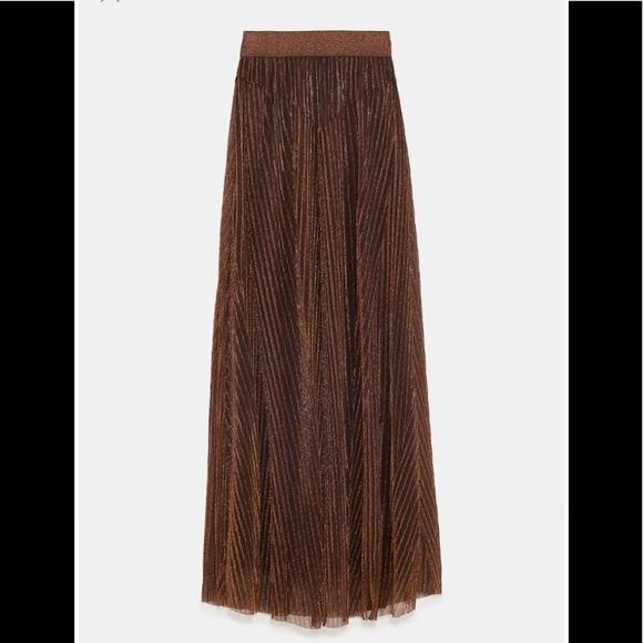a65d38f539 Zara Skirts | Pleated Skirt With Metallic Thread In Copper | Poshmark